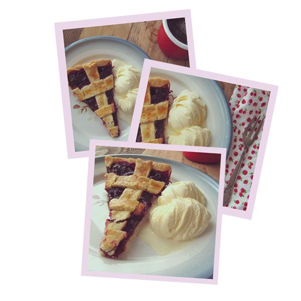 tarta de cerezas y helado de vainilla